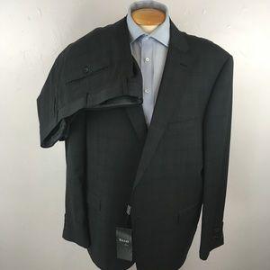 Tiglio mens suit gray checks 52r italy nwt ea0266